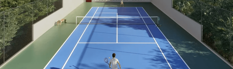 Lazer com quadra de tênis