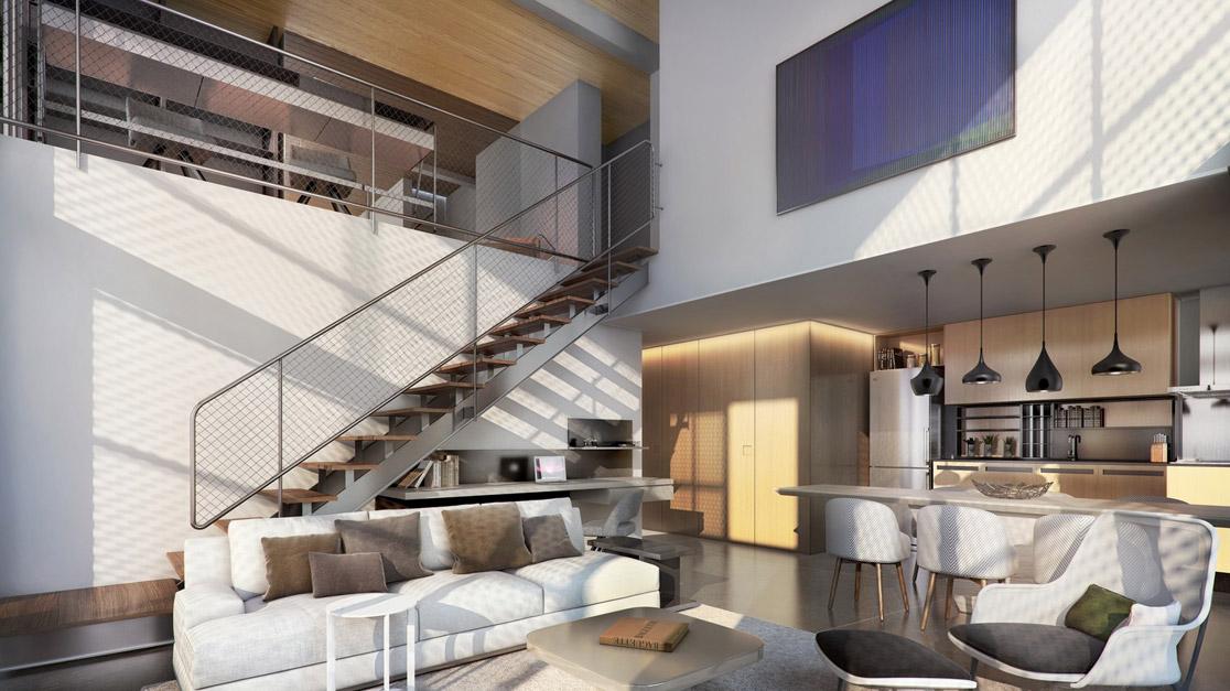 DUPLEX de 139 m² com sala ampliada, em L, com pé-direito duplo, recebe bastante luz, principalmente no piso inferior, a área social.