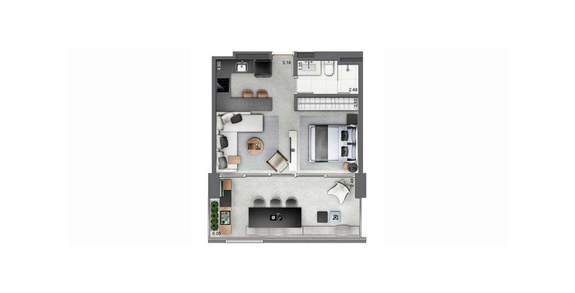 44 M² - STUDIO. Apto com janelões que ocupam toda a boca de sala, com mais de 5 metros. Possui um amplo terraço, para receber muito bem suas visitas.