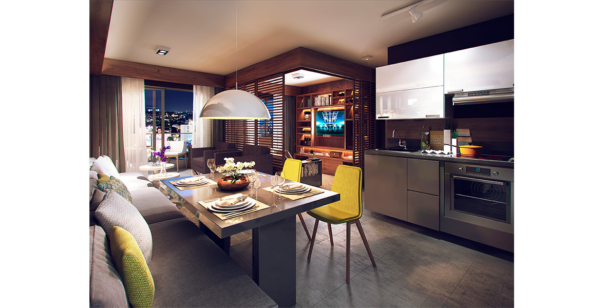 LIVING AMPLIADO do apto de 59 m², com sugestão de uma sutil divisória de madeira, para quem não prefere o living totalmente aberto.