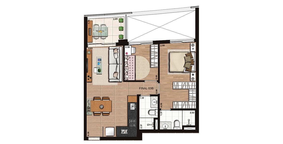 60 M² - 2 DORMS., SENDO 1 SUÍTE. Apto com ampla suíte com closet. Há flexibilidade de planta, podendo ampliar o living.