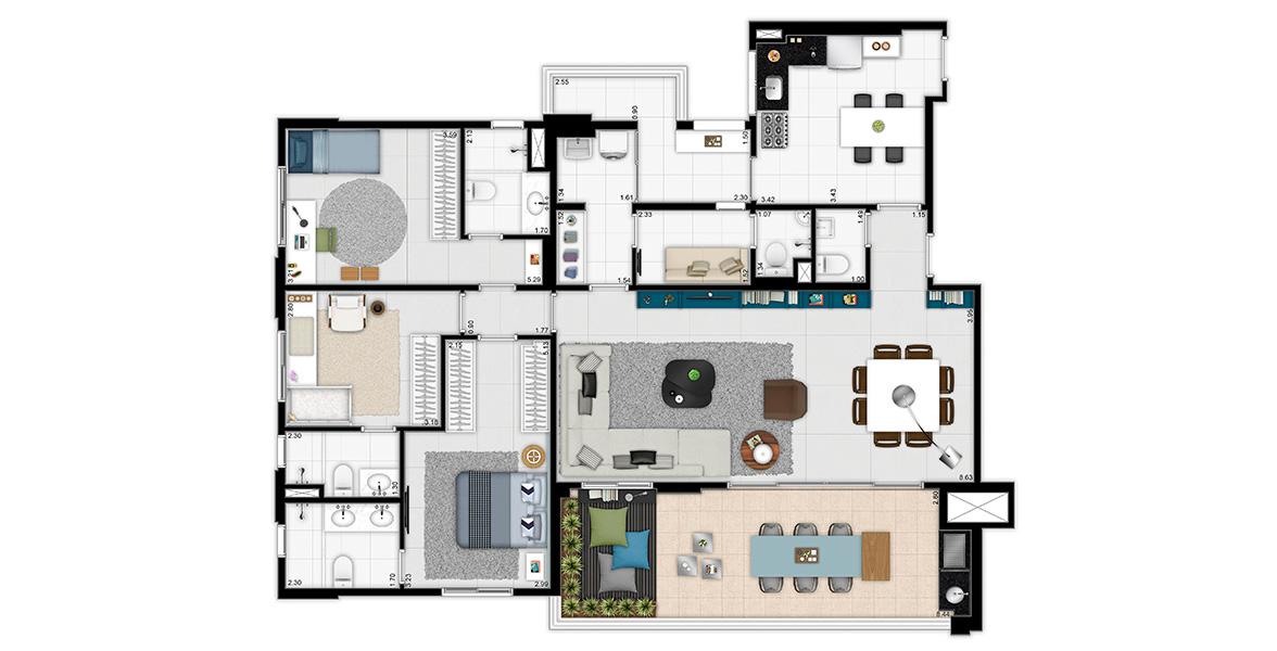 157 M² - 3 SUÍTES. Apto com living ampliado e lavabo, integrado ao ótimo terraço com opção de churrasqueira, já entregue com piso em porcelanato. Cozinha também é espaçosa, conta com entrada e terraço de serviço.