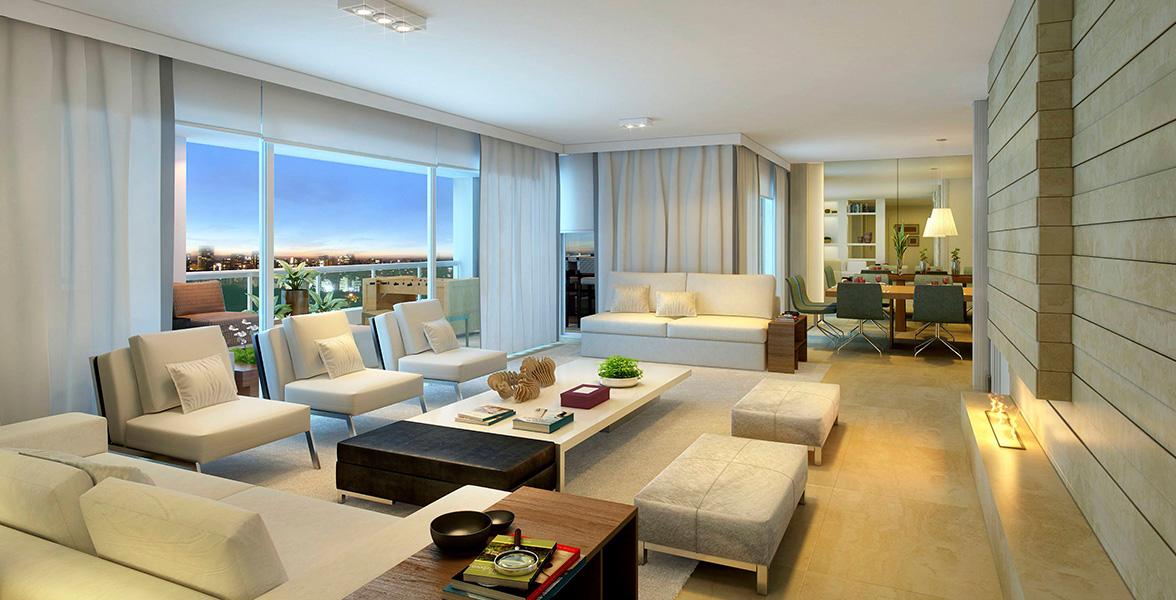 LIVING do apto de 283 m² com infraestrutura para ar-condicionado, automação das persianas e piso com tratamento acústico.