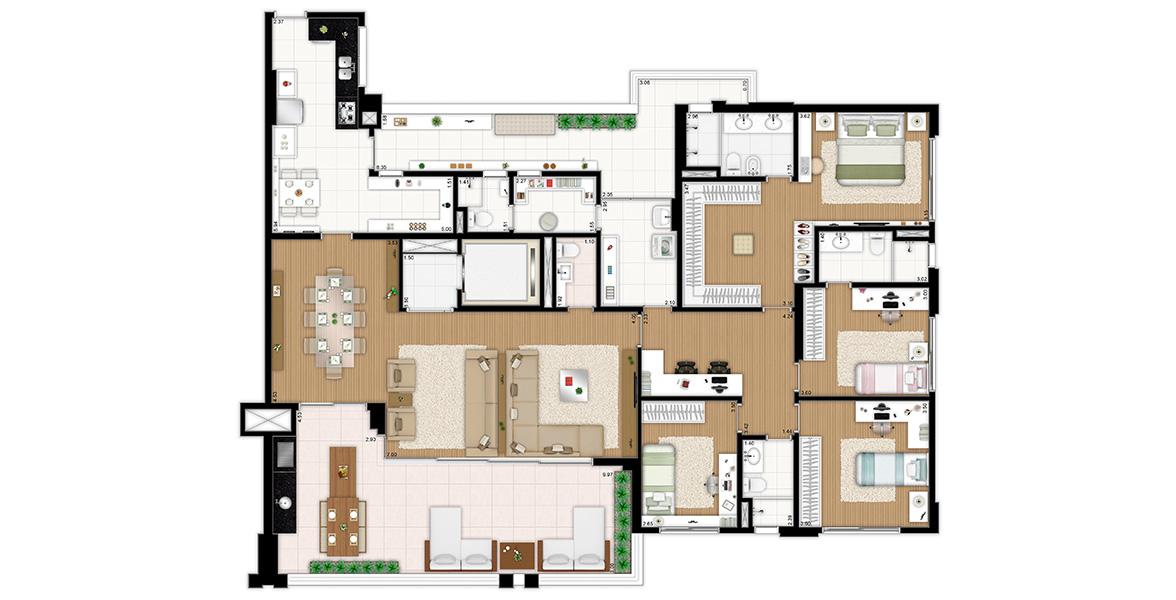 241 M² - 4 DORMS., SENDO 2 SUÍTES. Apto para famílias grandes, com 4 dormitórios e área de estudo, que também pode ser uma rouparia. Terraço com opção de churrasqueira tem uma frente de quase 10 metros, proporcionando uma vista maravilhosa.