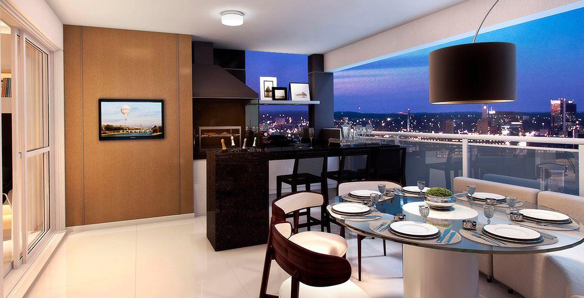 TERRAÇO do apto de 108 m² com opção de kit churrasqueira e alto padrão de acabamento, com piso em porcelanato (60 x 60 cm).