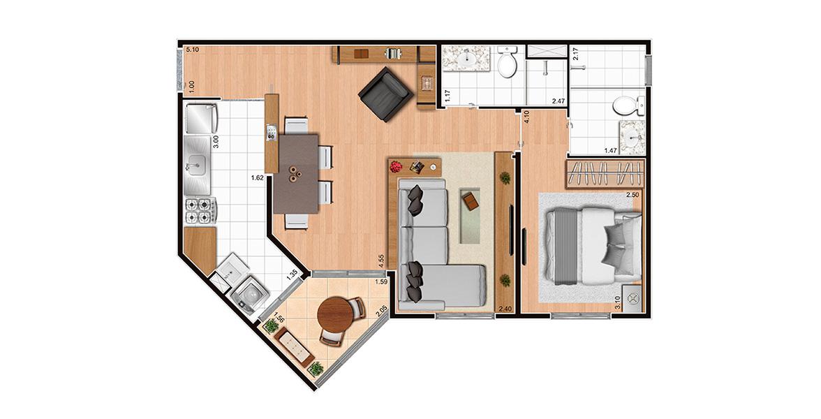 55 M² - 1 DORM, SENDO 1 SUÍTE. Apto com living ampliado e cozinha americana. Tem um prático terraço modesto com passagem direta para a cozinha.