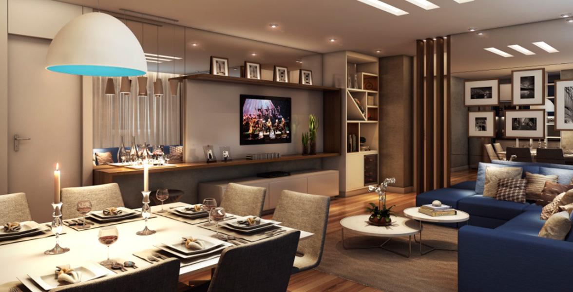 LIVING AMPLIADO do apto de 43 m² que fica bastante confortável e tem boa área de circulação do IN Parque Belém - Perdizes