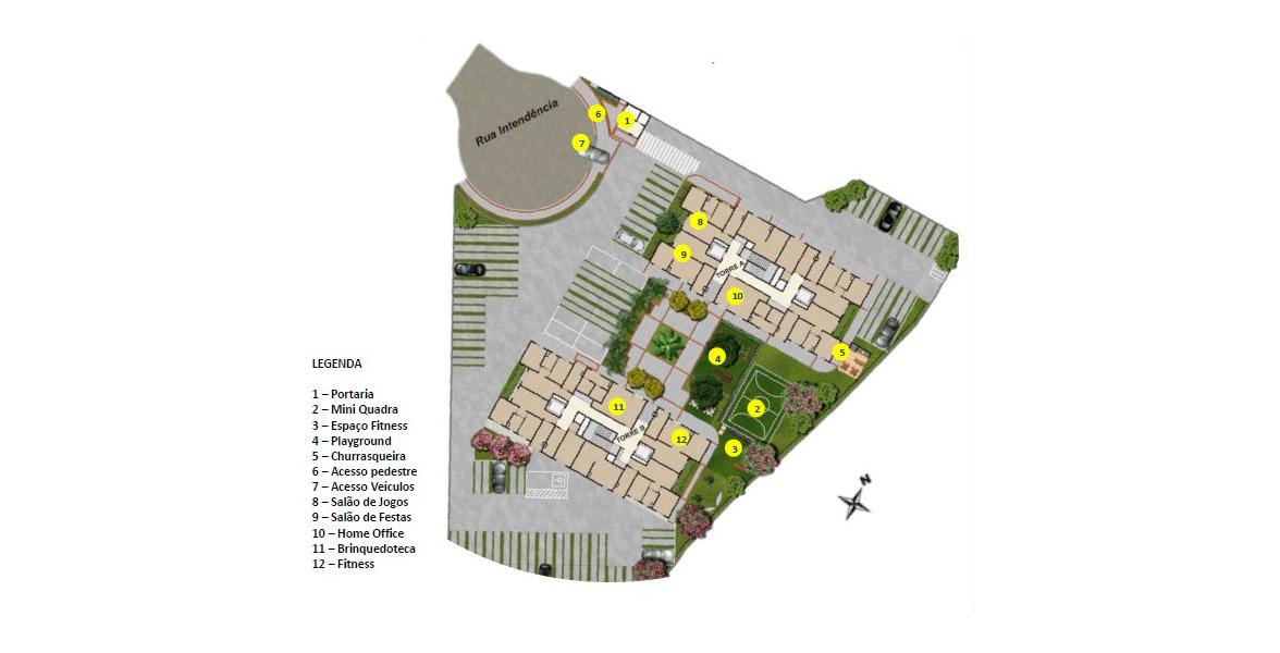 Planta do IN Parque Belém - Perdizes. IMPLANTAÇÃO. Apenas 2 torres neste condomínio, com salão de festas e muito mais.