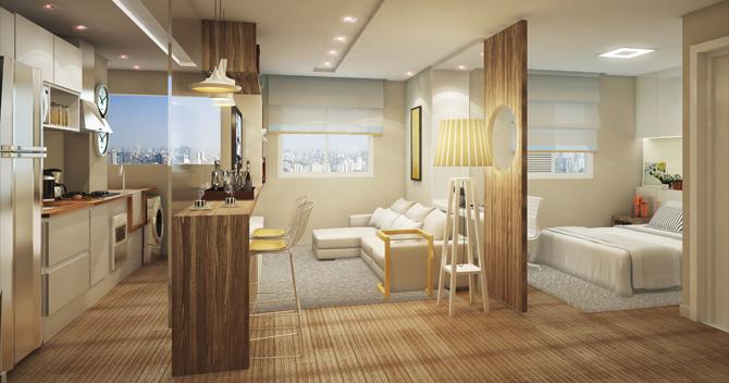 LIVING do apto de 35 m² com tudo bem compacto, bem na medida do IN São Paulo Trianon