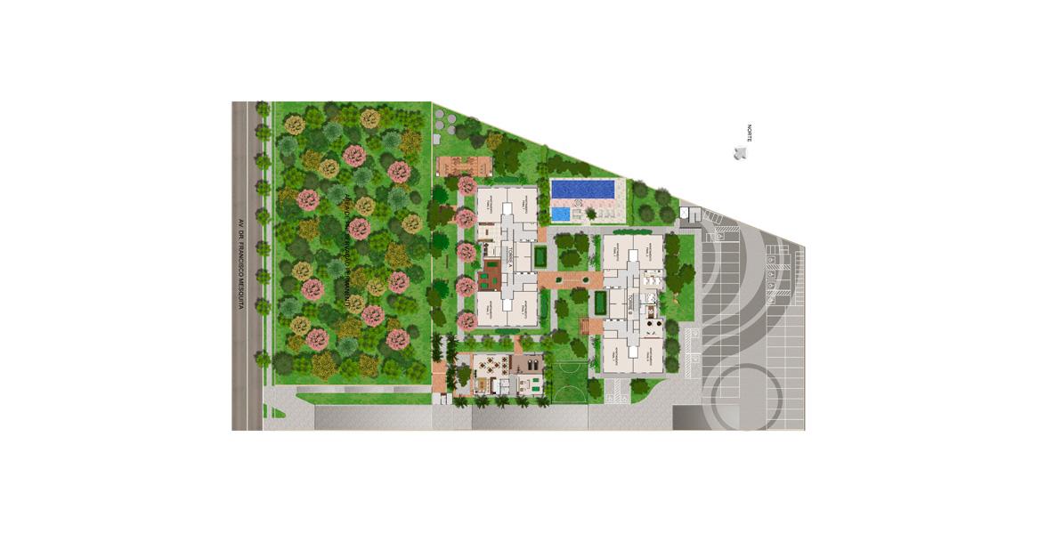 Planta do IN São Paulo Trianon. IMPLANTAÇÃO. Com 2 torres e uma grande área verde de preservação permanente ao lado, garantindo uma boa vista.