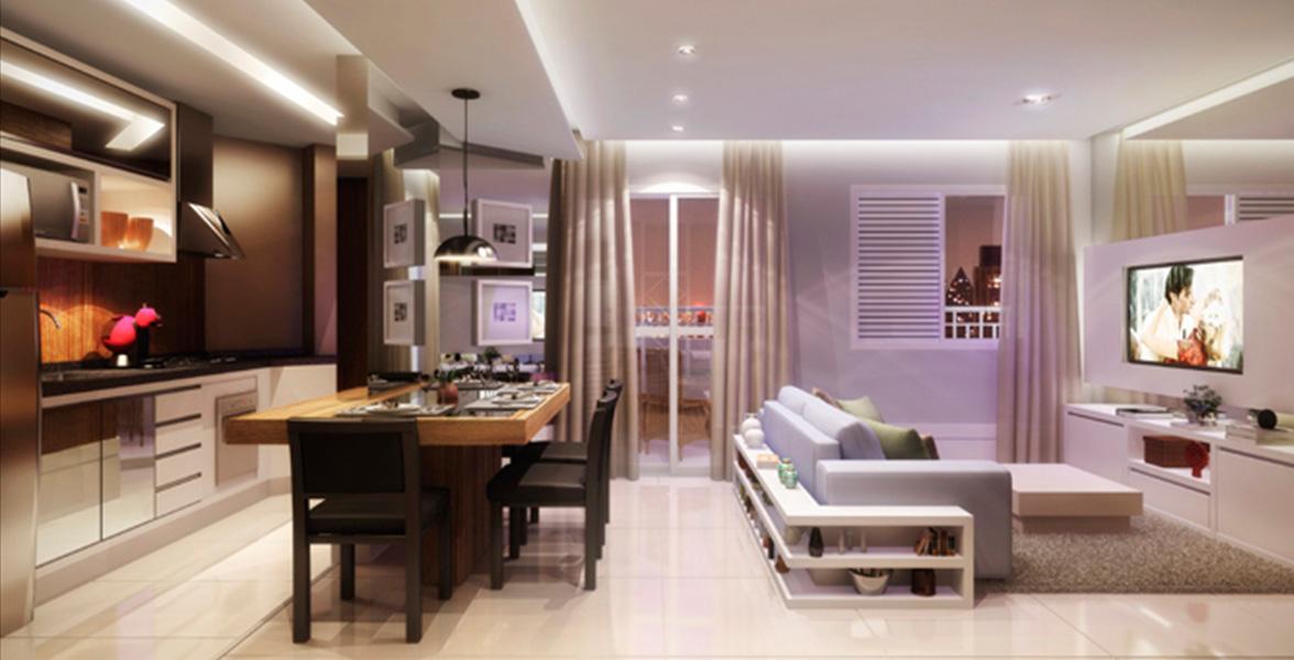LIVING AMPLIADO do apto de 65 m² com cozinha americana e terraço.