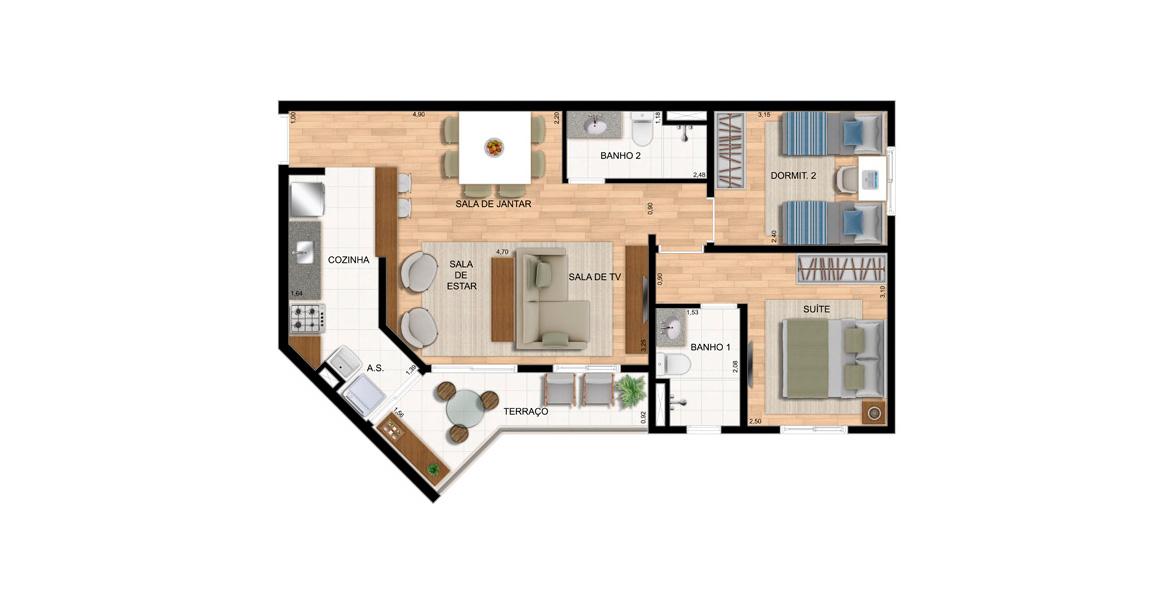 65 M² - 2 DORMS., SENDO 1 SUÍTE. Apto com living ampliado e banheiro que também serve como lavabo. Tem um prático terraço com passagem direta para a cozinha.