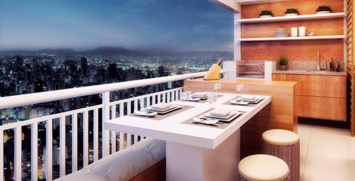 VARANDA do apto de 74 m², com espaço para churrasqueira ecológica e passagem direta para a cozinha.