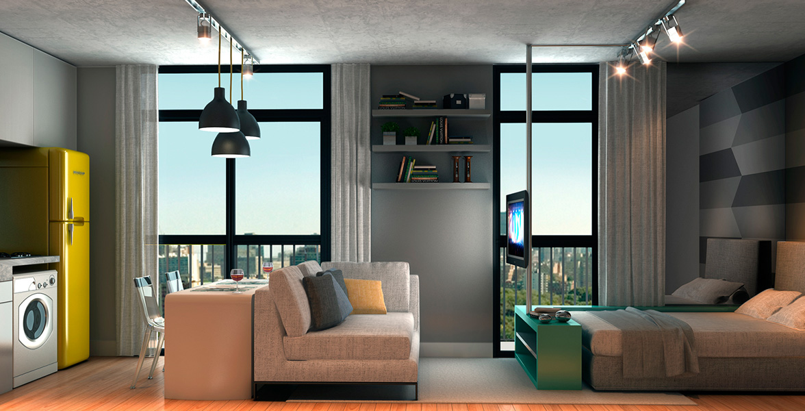 STUDIO do apto de 32 m² com janelas do piso ao teto, ponto para cooktop elétrico e máquina de lavar roupa.