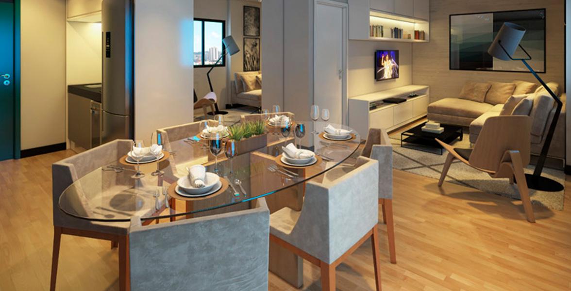 LIVING do apto de 51 m² preparado para automação, para você controlar a iluminação do seu apto por cenas pré-definidas, pelo seu celular.