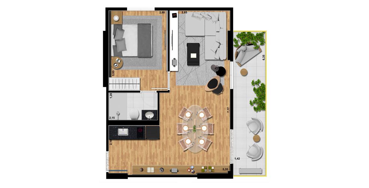 51 M² - 1 SUÍTE. Apto com uma excelente varanda com mais de 6 metros de frente e 1 dormitório. A flexibilidade da planta permite transformá-la em um studio.