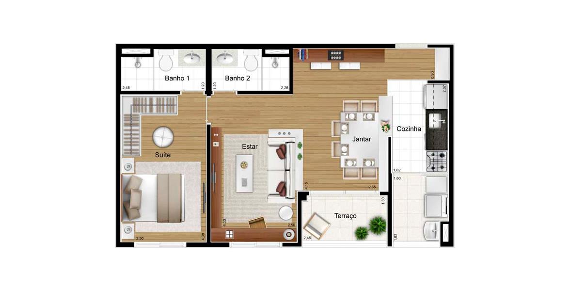 Planta do Feel Jardim Sul. 57 M² - 1 SUÍTE. Apto com living ampliado, criando uma sala com 3 ambientes, ótima para receber os amigos com conforto.
