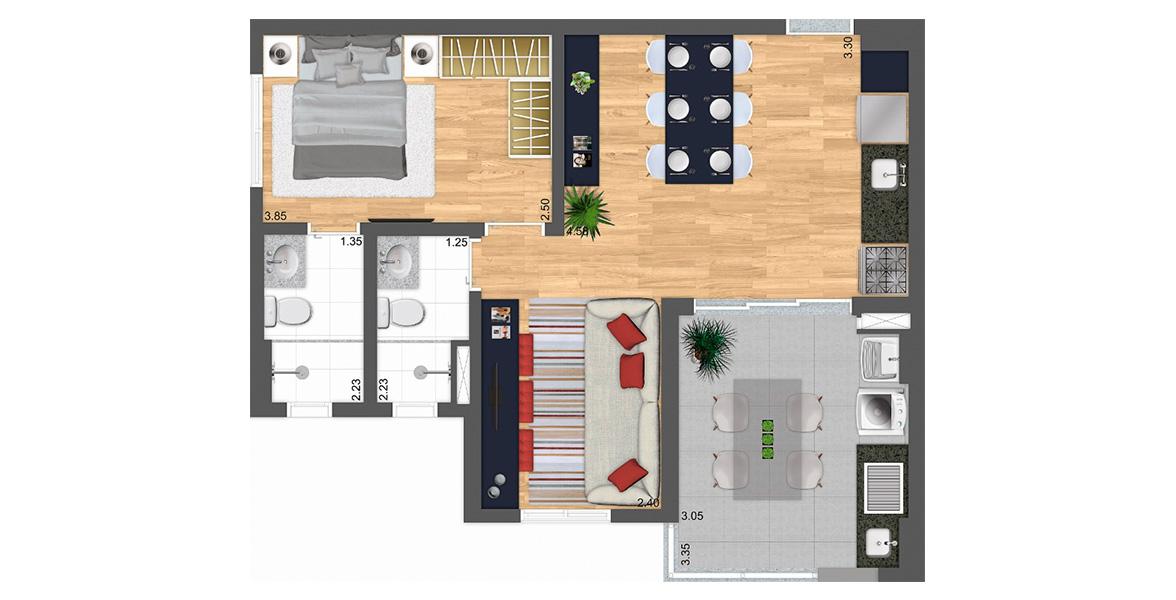 Planta do Parkway Panamby. 57 M² - 1 SUÍTE. Apto com living ampliado, ganha uma reservada sala de TV e mantendo o ótimo terraço, com opção de kit gourmet. É ideal para casais jovens.