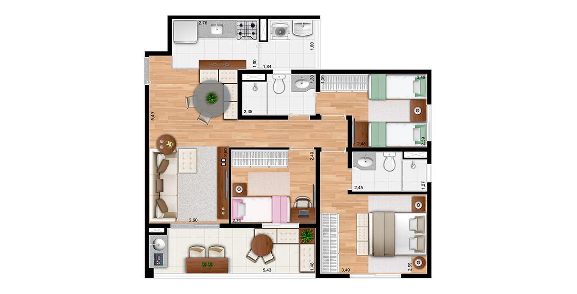 73 M² - 3 DORMS., SENDO 2 SUÍTES. Projetado especialmente para a família, com 3 dormitórios e um bom terraço. Todos os aptos de 73m² tem 2 vagas na garagem, que é raro na região.