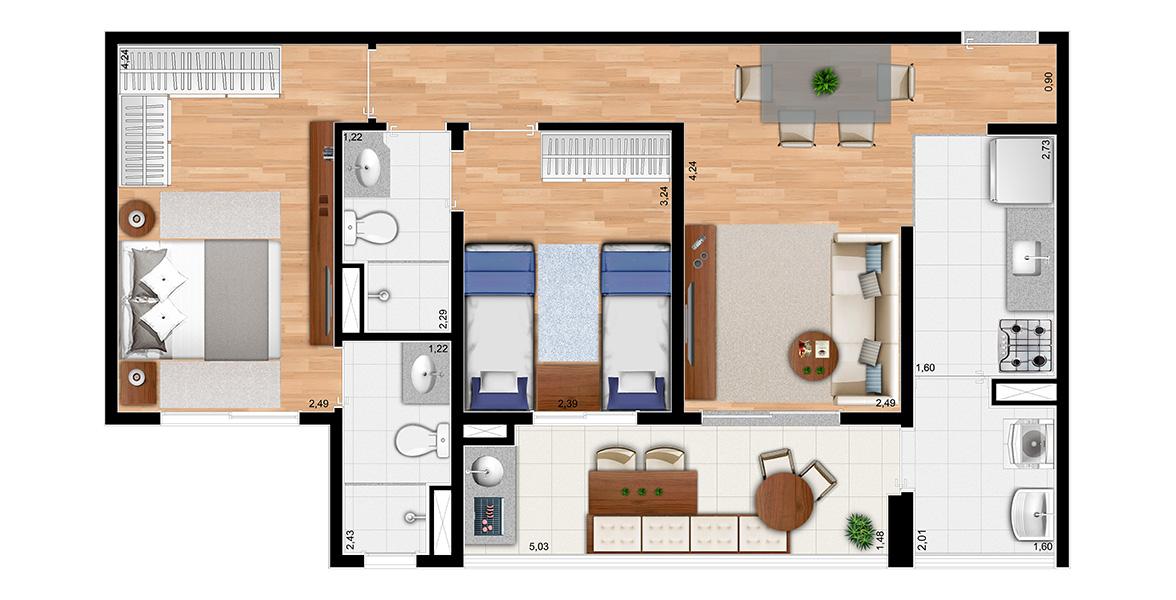 63 M² - 2 SUÍTES. Uma planta bem distribuída, com importante integração da cozinha com o terraço. Repare que o banheiro do corredor é reversível, atendendo o dormitório e também as visitas. Essa planta não dá a possibilidade de ampliar a sala.