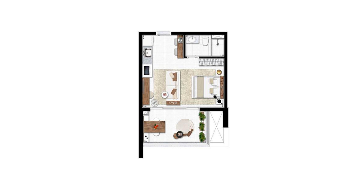 34 M² - STUDIO. Apartamento no Campo Belo bastante aberto e funcional. Os poucos metros quadrados definitivamente não limitam a recepção de amigos, principalmente com apoio do amplo terraço.