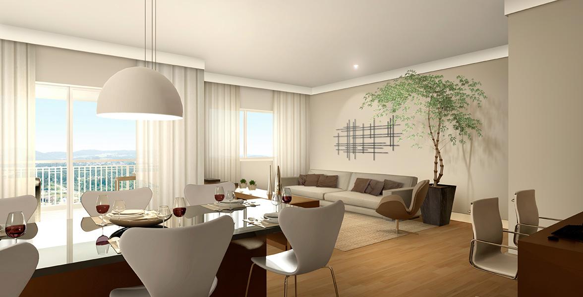 LIVING AMPLIADO do apto de 58 m² deixa até uma boa sensação de que o apartamento é maior, por retirar as paredes integrar tudo.