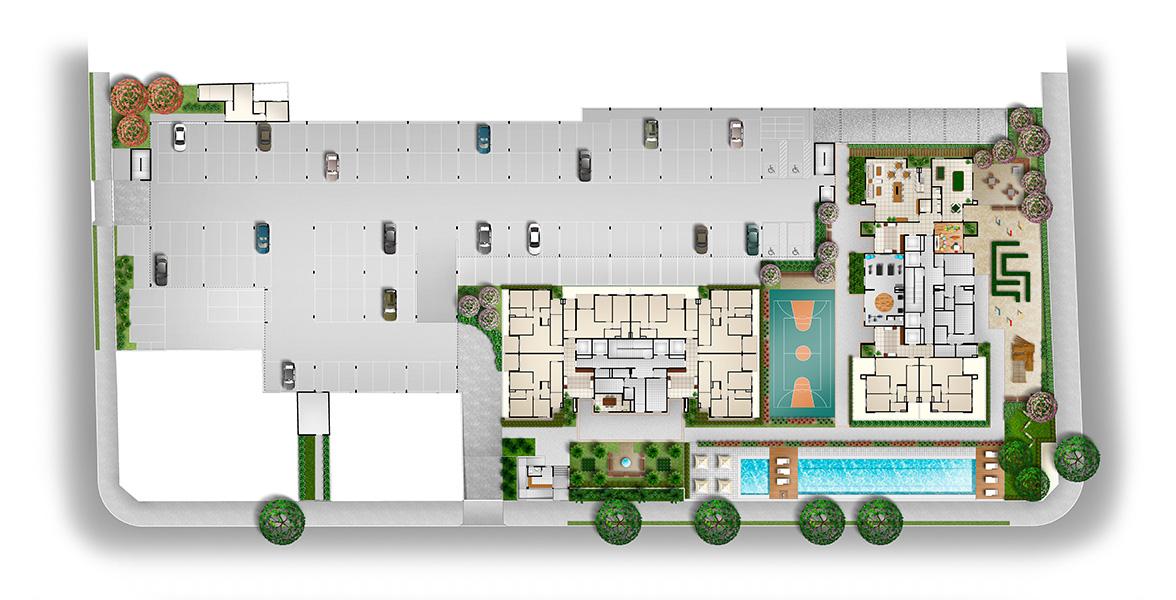 IMPLANTAÇÃO. Em um terreno de 6.542 m², o Aquarela Paulistana tem 17 áreas comuns e de lazer, oferecendo lazer completo para a família toda.