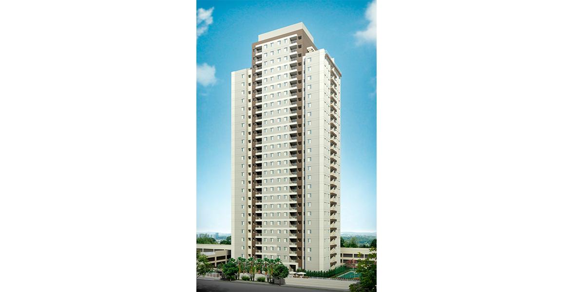 FACHADA DIURNA com aptos duplex dos últimos andares dão um tom mais exclusivo para as torres.