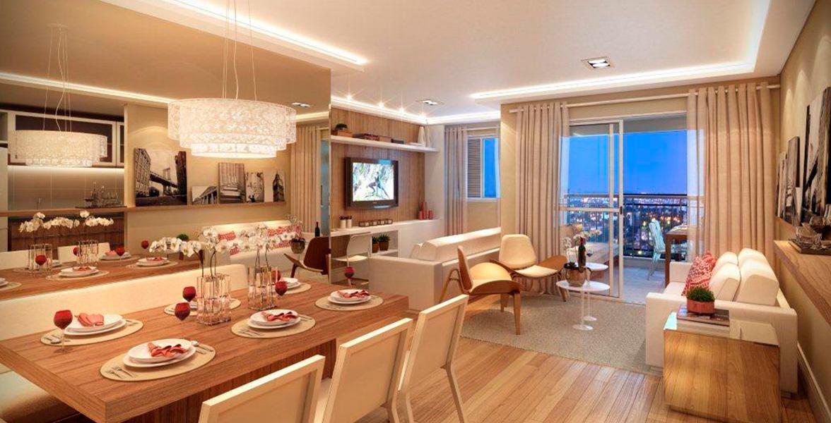 LIVING AMPLIADO do apto de 85 m² propõe uma liberdade ainda maior, privilegiando o conforto para receber bem.