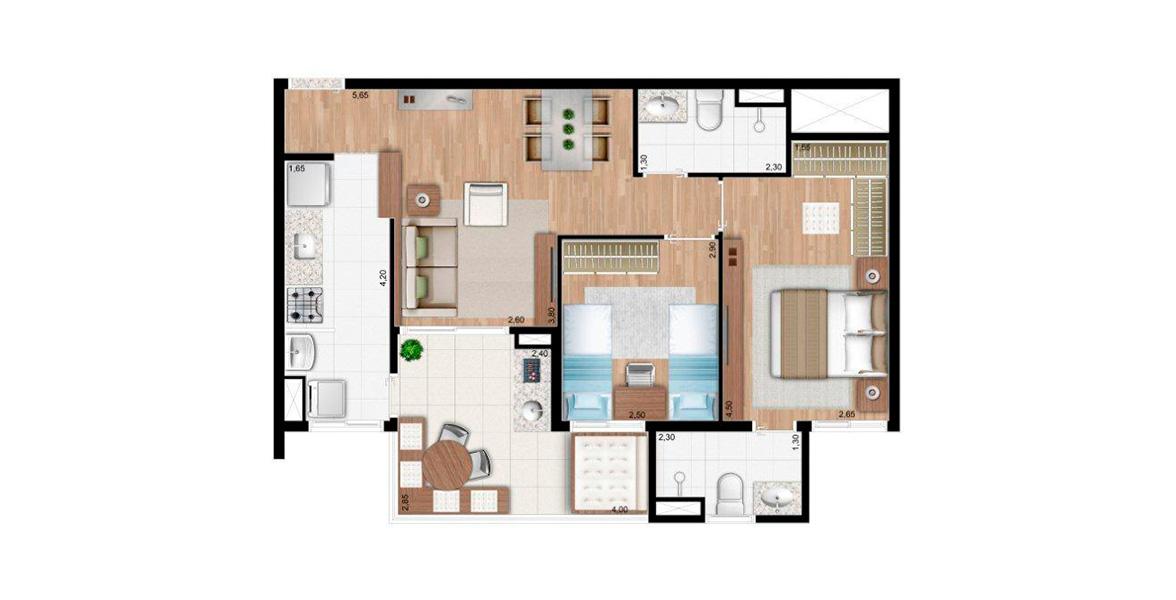 64 M² - 2 DORMS., SENDO 1 SUÍTE. Destaque para o terraço, integrado com o living e com passagem para a cozinha. Além disso, a suíte master é confortável, com closet e banheiro com ventilação e iluminação natural.