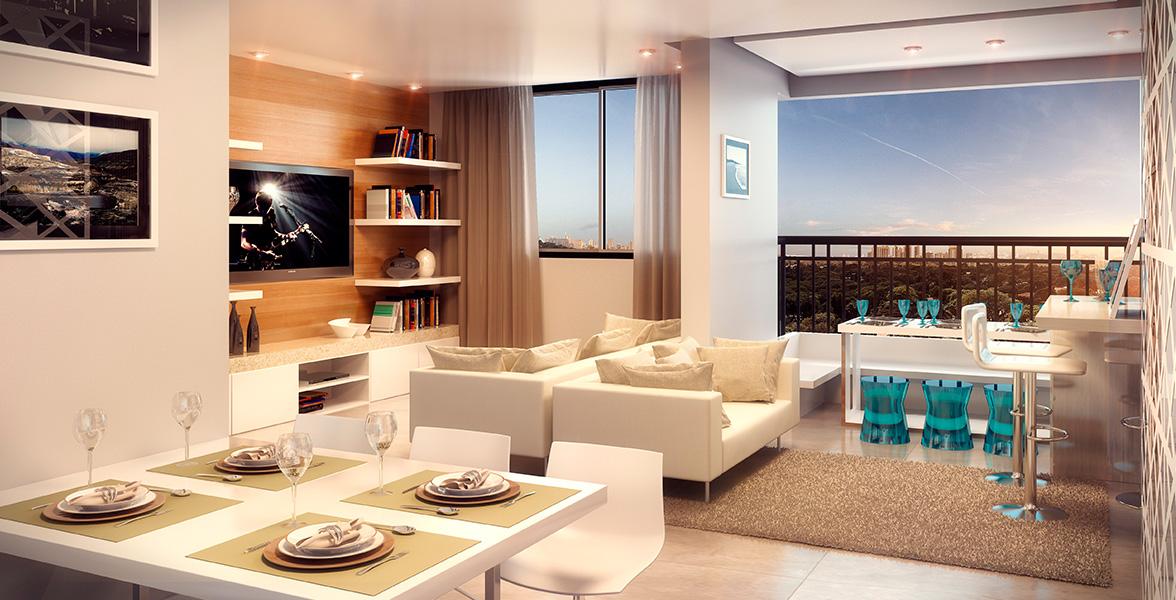 LIVING do apto de 61 m² com ambientes totalmente integrados, sem paredes, cria uma amplitude incrível.