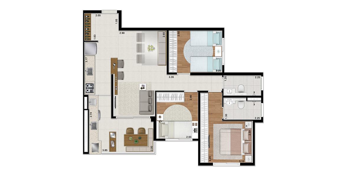78 M² - 3 DORMITÓRIOS, SENDO 1 SUÍTE. Apto com uma combinação perfeita para a família com filhos, que crescerão com uma excelente qualidade de vida dentro do Piscine Home Resort.