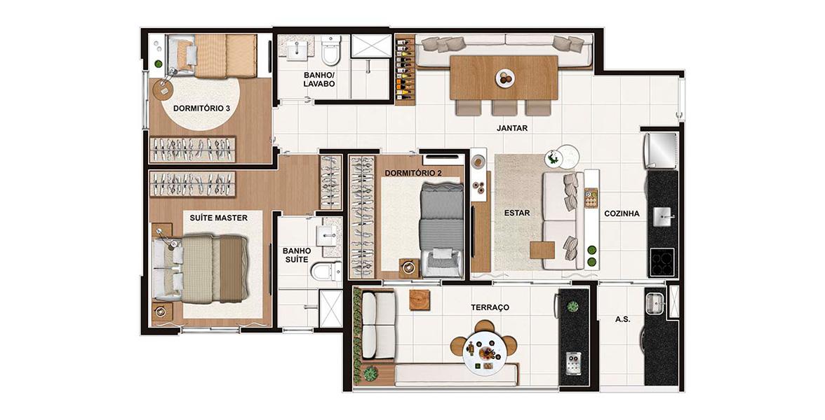 74 M² - 3 DORMS., SENDO 1 SUÍTE. Apto para famílias com filhos, tem uma suíte com espaço para 2 armários, infraestrutura para ar-condicionado, janela com persiana de enrolar e banheiro com ventilação natural.