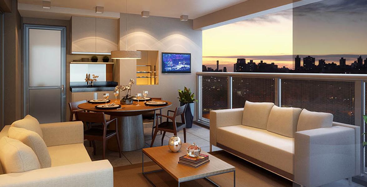 TERRAÇO GOURMET do apto de 90 m² com churrasqueira e passagem direta para a cozinha do Arte Arquitetura Pinheiros 2