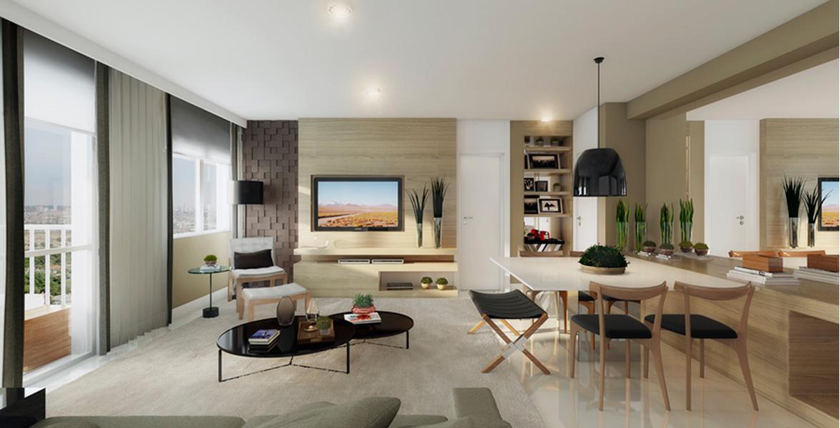 LIVING AMPLIADO do apto de 69 m² com persianas de enrolar, que permitem maior entrada de luz.
