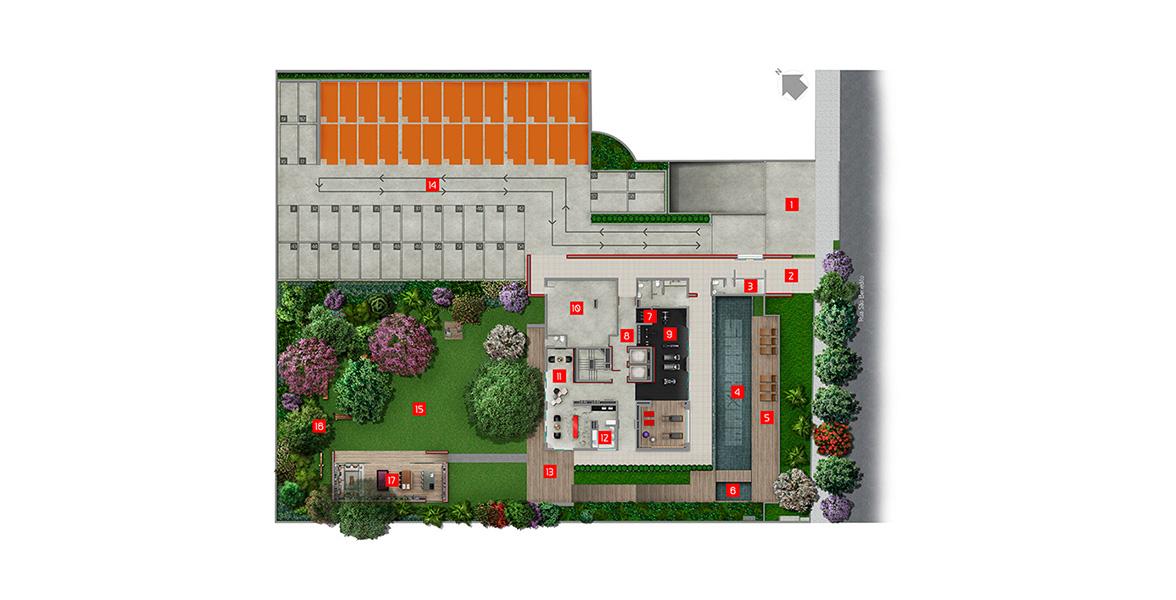 Planta do MaxHaus Alto da Boa Vista. IMPLANTAÇÃO. Com ampla área verde, para relax dos moradores.