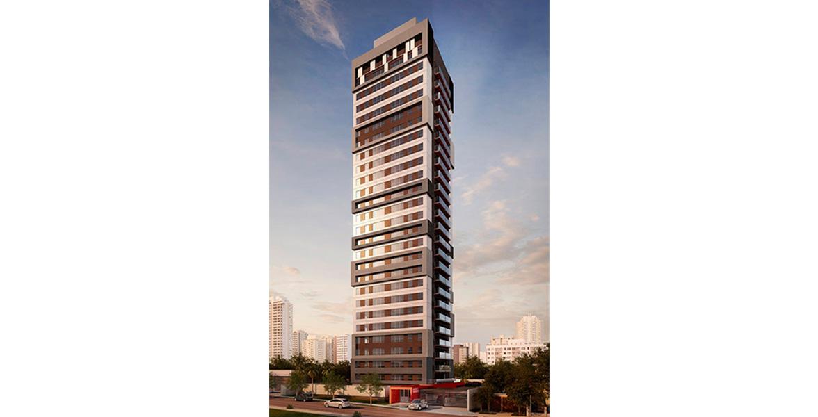 FACHADA moderna assinada pelo escritório Rocco Vidal Perkins + Will. Os amplos caixilhos tem 1,6 m de altura, com esquadrias externas em alumínio anodizado na cor aço inox.