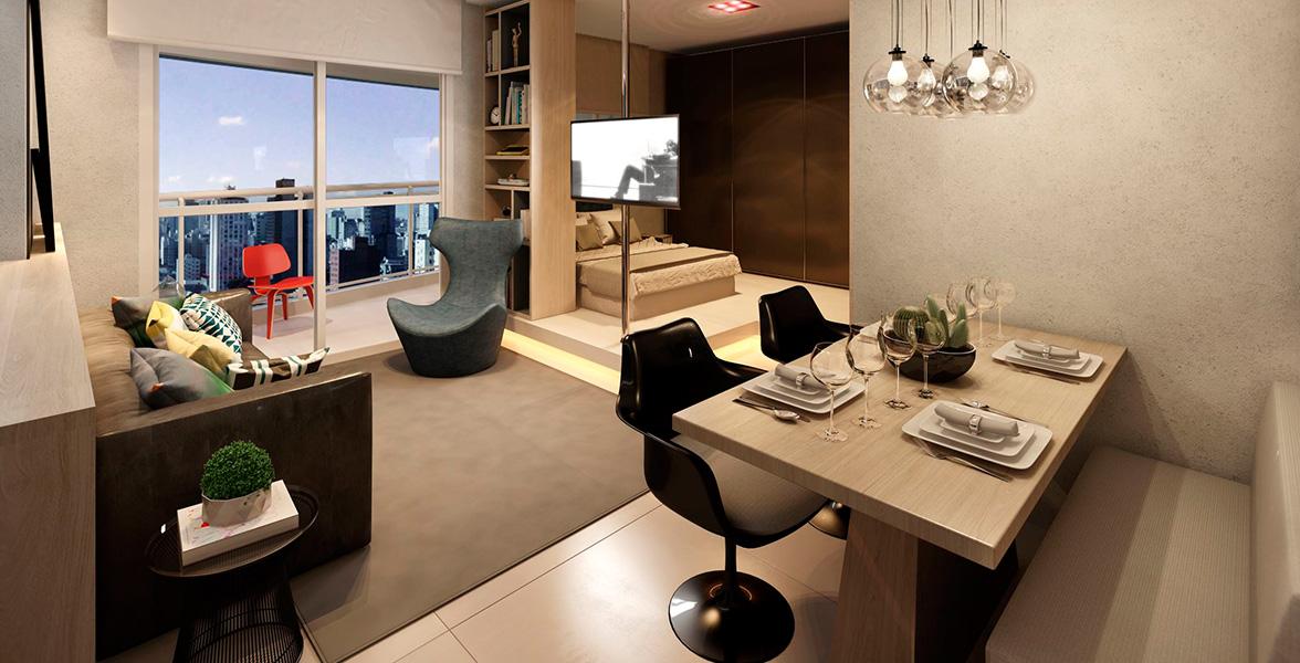 STUDIO de 49 m² tem amplo terraço, que se torna um grande apoio para receber os amigos.