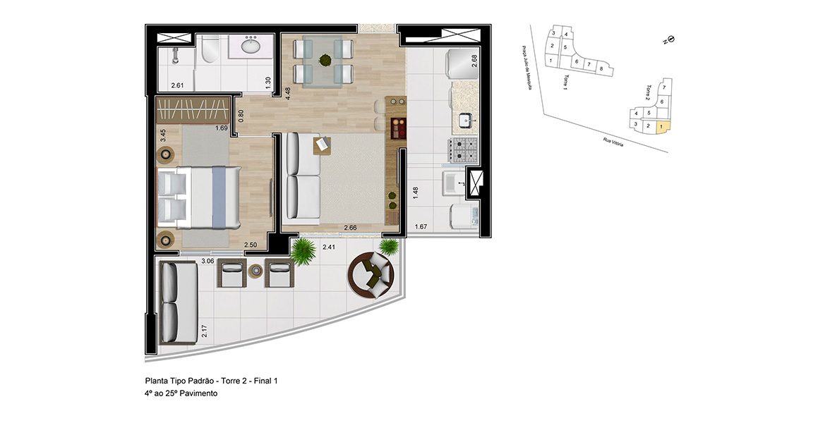 Planta do Urban Resort. 49 M² - 1 DORM. Apto com um dormitório fechado para quem deseja maior privacidade, com uma pequena metragem que proporciona um preço total atrativo.