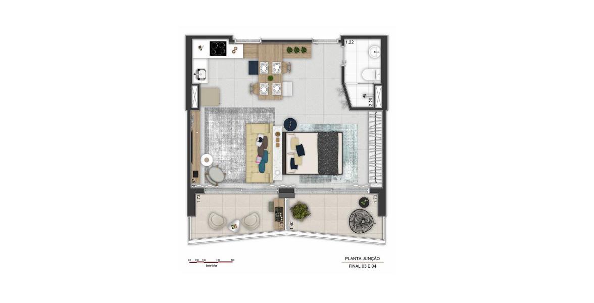 44 M² - STUDIO JUNÇÃO. Apto com uma flexibilidade de planta muito bem planejada, não obriga você a manter paredes internas.