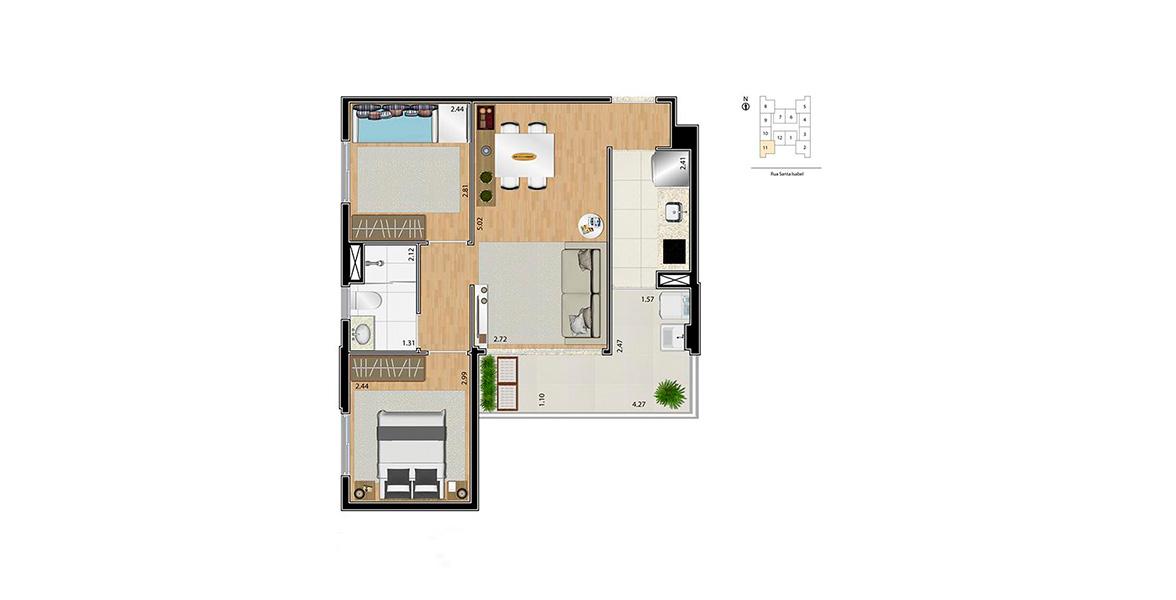 52 M² - 2 DORMS. Apto ideal para famílias, devido aos 2 dormitórios, atendidos por um banheiro com ventilação natural. Tem um ótimo terraço, integrado com o living e a cozinha.
