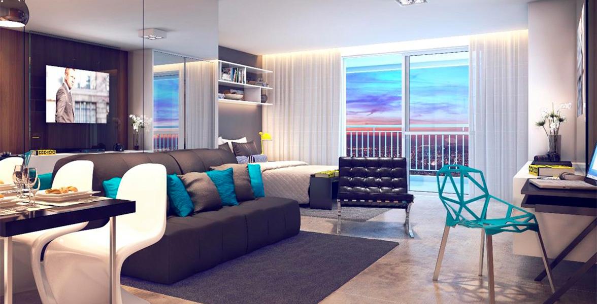 STUDIO de 44 m² com boa integração dos ambientes principalmente com o amplo terraço com mais de 4 metros de frente.
