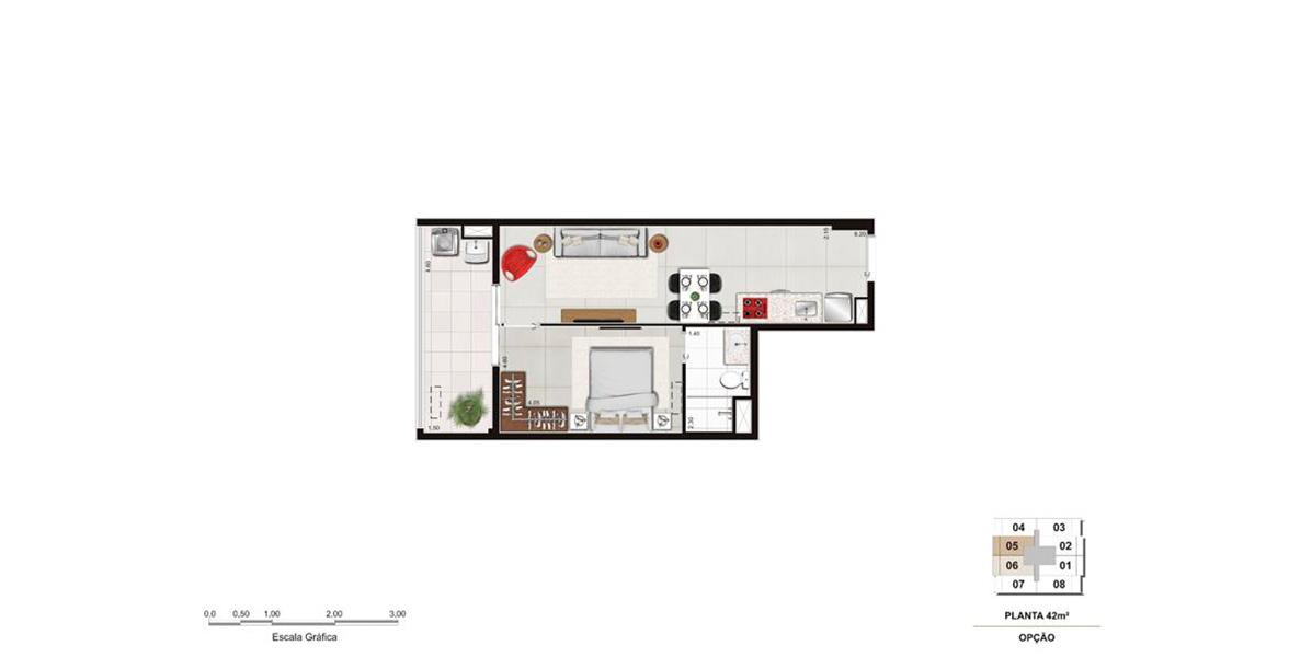 42 M² - 1 SUÍTE. Apartamento com uma suíte e paredes divisórias para pessoas que querem um pouco mais de privacidade, com infraestrutura para ar-condicionado.