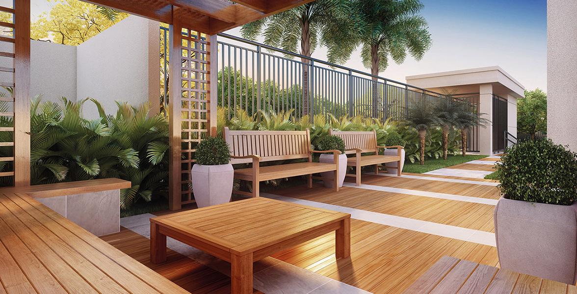 PRAÇA DE APOIO ao salão de festas, um ambiente mais reservado para seus convidados.