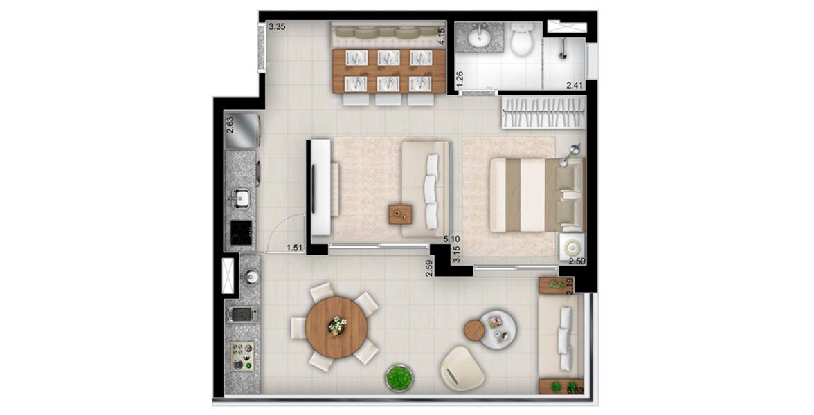 49 M² - STUDIO. Apartamento com cozinha tradicional e um excelente terraço, integrado com a suíte, a sala e a cozinha.