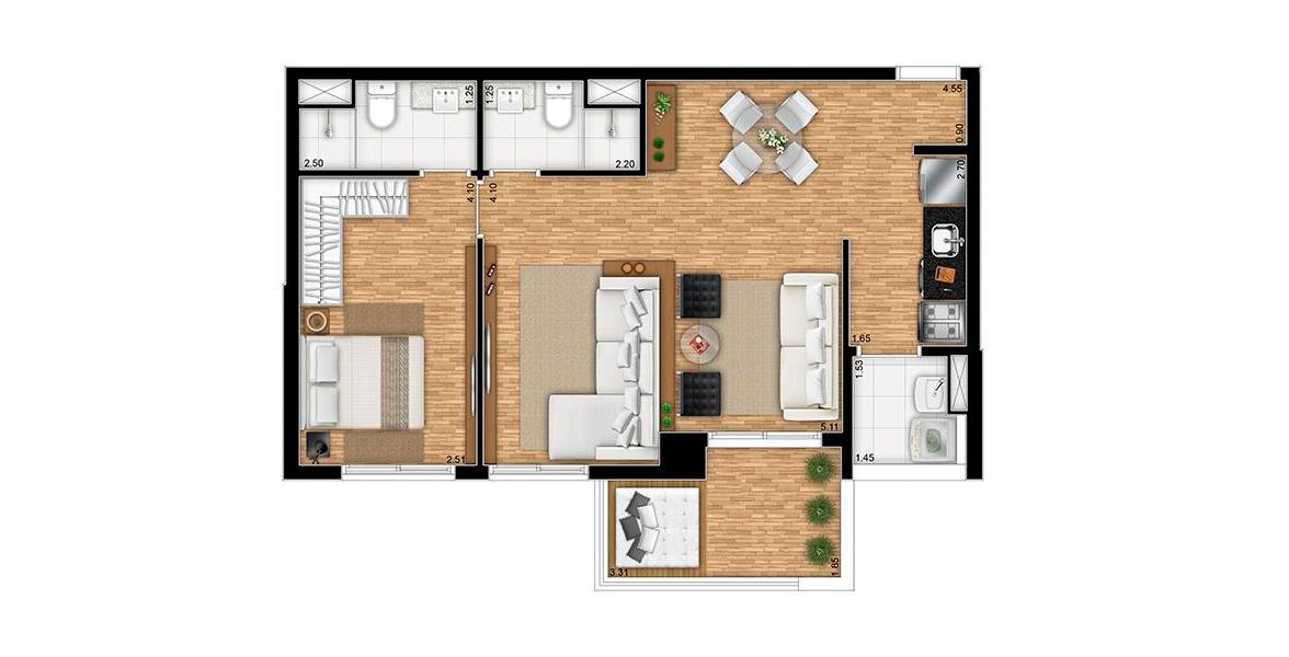 Planta do Aristo Tatuapé by Lindenberg. 62 M² - 1 SUÍTE. Apartamento com living ampliado e caixilho com atenuação acústica integrando o terraço em L. Suíte possui infraestrutura para ar-condicionando.