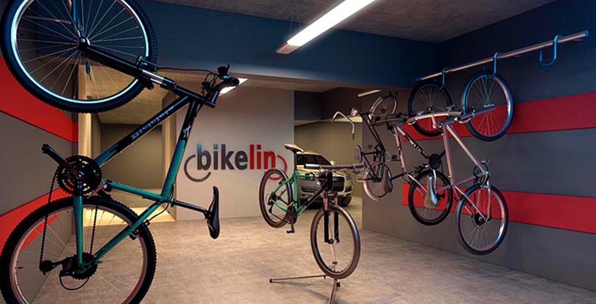BIKELIN já com algumas bicicletas entregues, um ambiente com pisos de subsolos pintados com epóxi, que é mais confortável para manobras e tem excelente impacto estético.