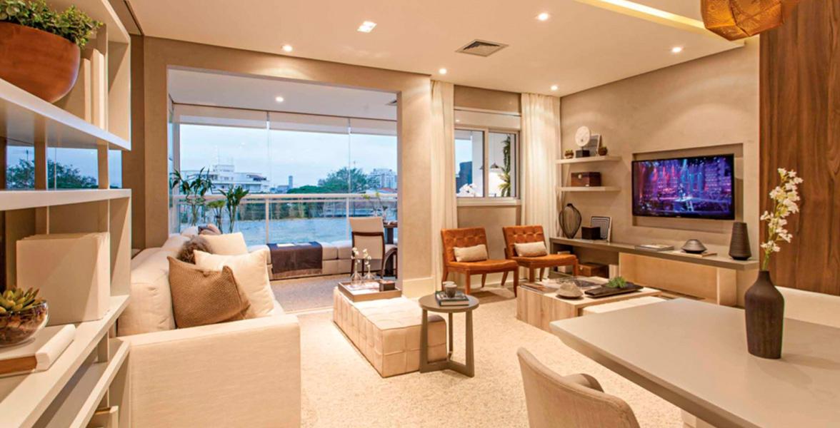 LIVING AMPLIADO do apto de 71 m² com infraestrutura para ar-condicionado e automação de itens como iluminação, som ambiente, persianas etc.