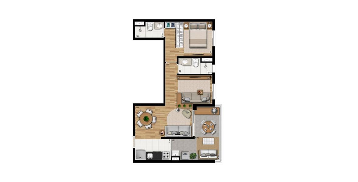 59 M² - 1 SUÍTE. Apto com living ampliado com infraestutura para automação e ar-condicionado. Tem terraço com ponto grill e passagem direta para o living e para a cozinha.