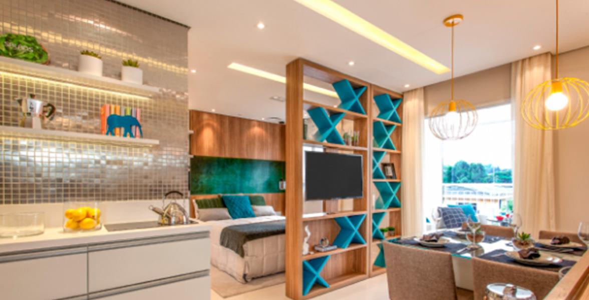 DORMITÓRIO do apto de 35 m² é entregue com persiana de enrolar, que permite maior entrada de luz.